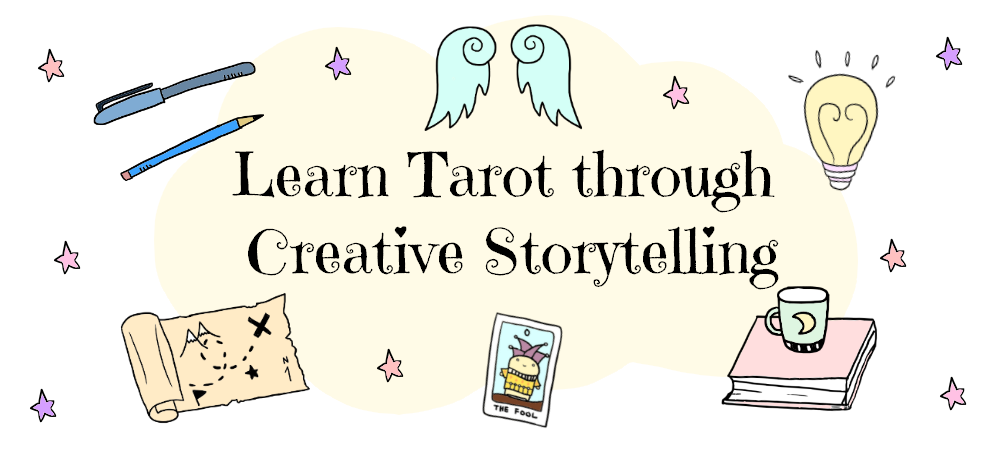 learn tarot through creative storytelling banner with a tarot story